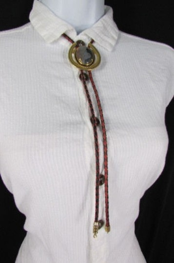 Other Women Gold Metal Pendant Black Red Braid Rope Western Fashion Bolo Tie Necklace