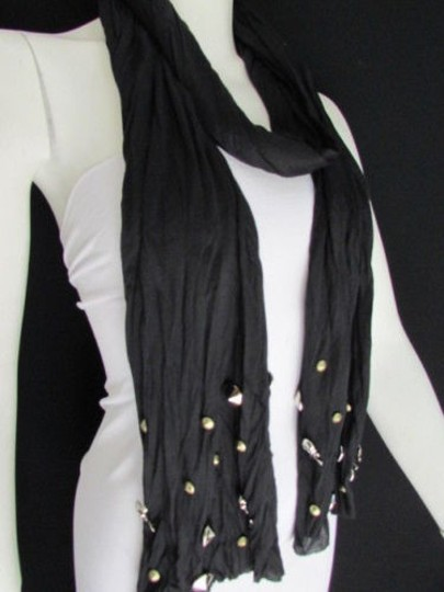 Other Women Soft Fabric Fashion Black Scarf Long Necklace Silver Metal Skulls Stud