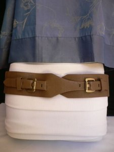 N Women Waist Hip Elastic Ligh Brown Fashion Belt Two Gold Buckle 27-36