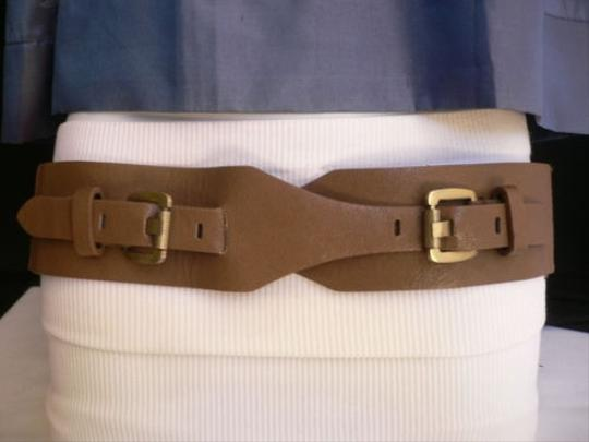 Other N Women Waist Hip Elastic Ligh Brown Fashion Belt Two Gold Buckle 27-36