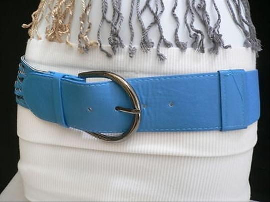 Other Women Fashion Blue Belt Hip Waist Faux Leather Big Metal Buckle 27-33