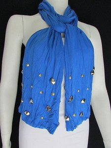 Other Women Soft Fabric Fashion Blue Scarf Long Necklace Silver Metal Skulls Stud