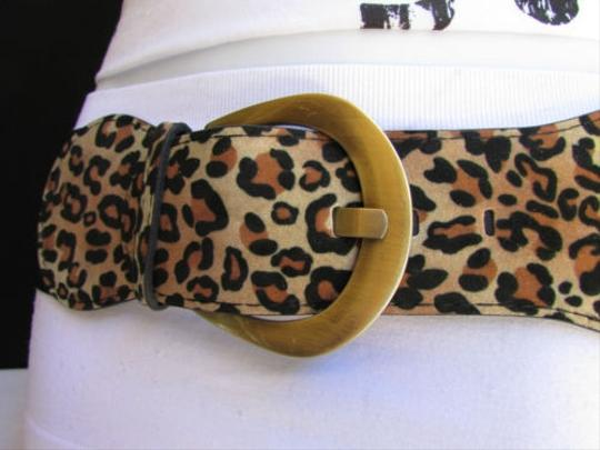 Other Women Hip Animal Pring Leopard Elastic Fashion Belt Gold Buckle 25-30 Xss
