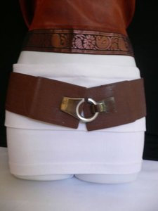 Other Women Hip Waist Elastic Dark Brown Wide Fashion Belt Hook 30-35 Sm