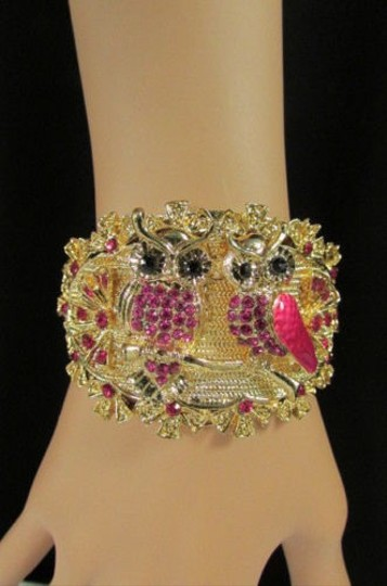 Other Women Gold Metal Fashion Cuff Bracelet Mini Owls Flowers Red Pink Blue Brown