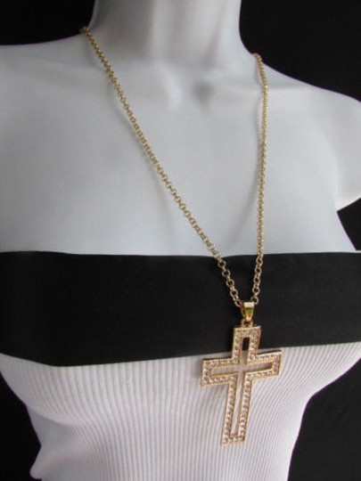 Other Wester Women Gold Metal Fashion Necklace Big Cross Pendant Silver Rhinestones 15