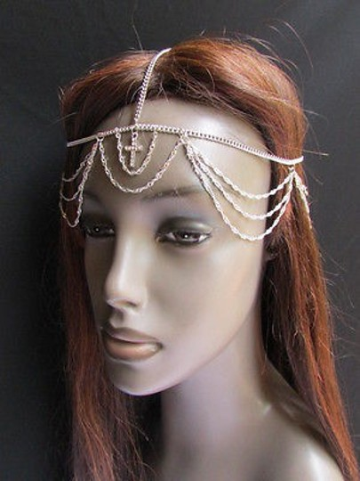 Other Women Silver Cross Metal Wave Head Chains Fashion Jewelry Silver Rhinestones