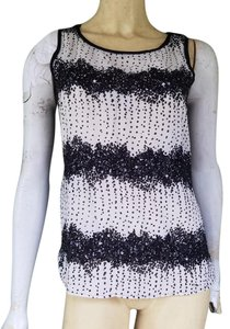 Ann Taylor LOFT Sequin White Top Black