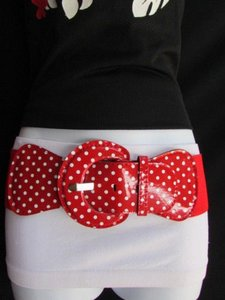 Other Women Hip Hip Waist Elastic Red Fashion Belt Waistband White Polka Dots
