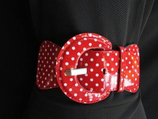 Other Women Elastic Red Fashion Belt Mini White Polka Dots Plus Size