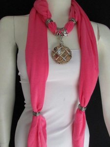 Women Pink Soft Fabric Fashion Scarf Long Necklace Silver Metal Glass Pendant