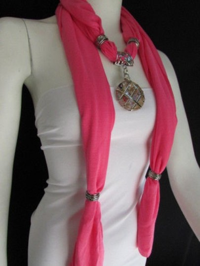 Other Women Pink Soft Fabric Fashion Scarf Long Necklace Silver Metal Glass Pendant