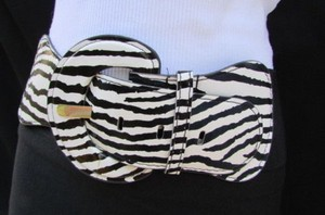 Other Women Hip Elastic Waist Stretch Zebra White Black Casual Belt