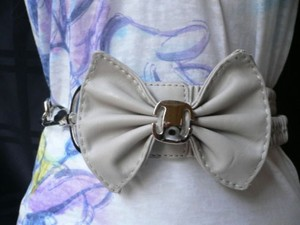 Other Women Elastic Gray Bow Silver Metals Fashion Belt Hip Waist 28-36