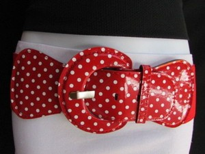 Women Hip High Waist Elastic Red Fashion Stretch Belt White Polka Dots