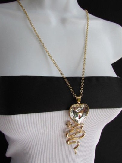 Other Women Gold Fashion Long Necklace Big Snake Heart Crystal Pendant Thin Chain