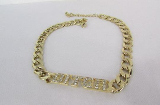 Other Women Gold Metal Chunky Chain Links Fashion Necklace Bitch Pendant Earrings