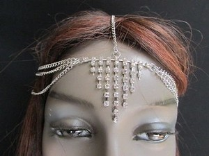 Women Silver Thin Metal Head Chain Fashion Jewelry Grecian Rhinestones