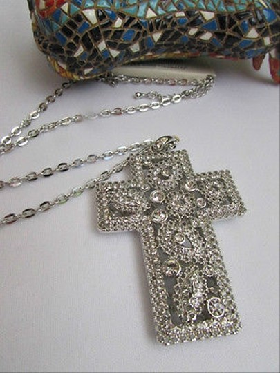 Other Wester Women Silver Metal Fashion Necklace Big Wide Cross Pendant Leaves 15drop