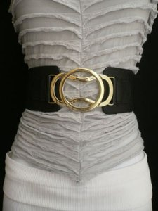 Other Women Black Belt High Waist Hip Elastic Fashion Gold Hook Buckle 26-35 Sm