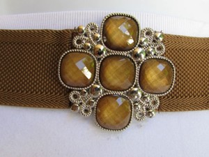Other Women Hip Waist Elastic Brown Fashion Belt Beads Cross Buckle 30-35 Sm 75