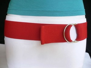 Other Women Men High Waist Hip Stretch Red Elastic Fashion Belt Ring Buckle