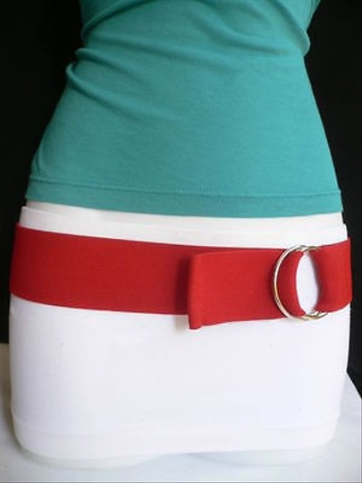 Other Women Men High Waist Hip Stretch Red Trendy Belt Ring Buckle