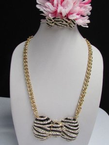 Other Women Fashion Gold Necklace Earring Set Black Stripes African Zebra Design