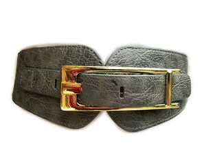 Other Women Hip Waist Elastic Gray Fashion Belt Big Gold Wide Buckle 28-37
