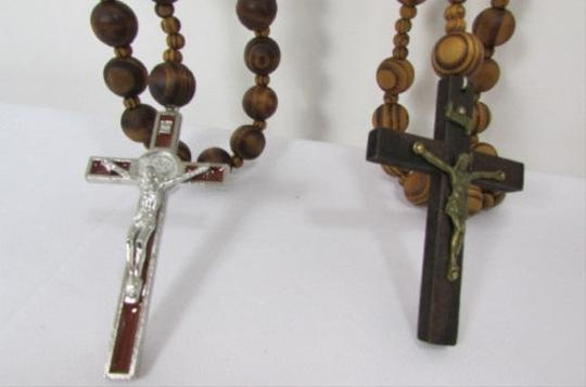 Other 40 Long Brown Wood Thick Balls Fashion Necklace Big Cross Pendant