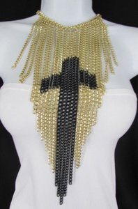 Other Women Multi Gold Metal Strands Chains Fashion Long Necklace Black Big Cross