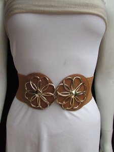 Other Women Hip Waist Elastic Mocha Brown Belt Gold Flowers Buckle 27-37