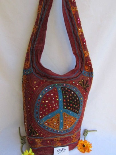 Other Women Fabric Fashion Messenger Hand Big Peace Sign Black Red Blue Cross Body Bag