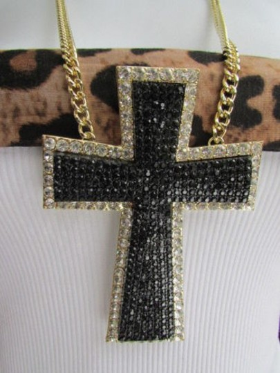 Other Western Women Gold Metal Fashion Necklace Huge Cross Pendant Black Rhinestones