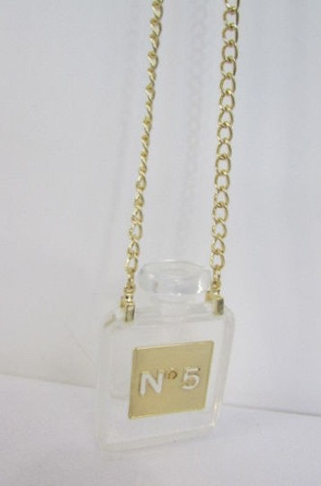 Other Women Gold Metal Chains Fashion Necklace Clear Plastic Perfume Bottle No