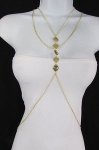 Other Women Gold Body Chain Classic Circles Long Necklace Fashion Jewelry