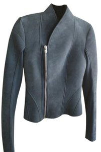 Rick Owens Suede Leather Blue Leather Jacket