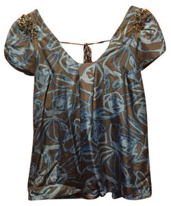 Rebecca Taylor Silk Crystal Women Top Blue