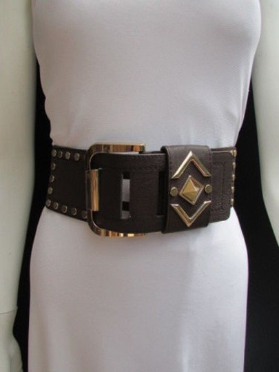 Other N. Women Brown Faux Leather Elastic Fashion Belt Gold Studs Buckle 28-35