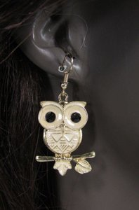 Other Women Gold Metal Owl Earrings Set Black Eyes Light Weight