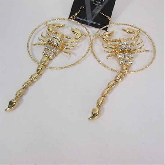 Other Women Gold Metal Hoop Long Scorpion Trendy Fashion Earrings Rhinestone