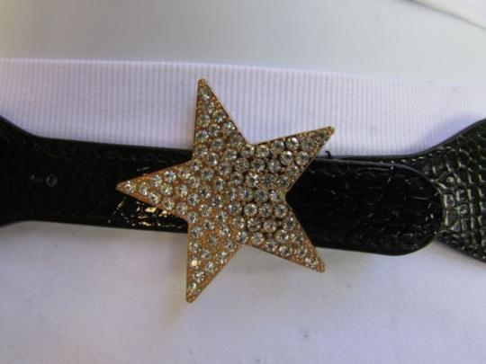 Other Women Hip High Waist Elastic Black Thin Fashion Belt Star Buckle 27-37 S-l
