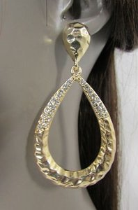 Other Women Gold Metal Hoops Ring Long Fashion Dangle Earrings Rhinestones Hook