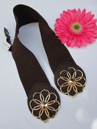 Other Women Hip Waist Elastic Brown Fashion Belt Gold Flower Buckle 27-37