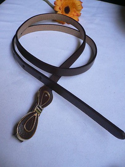 Other Women Summer Gold Bow Thin Brown Faux Leather Fashion Belt Ml 32-37
