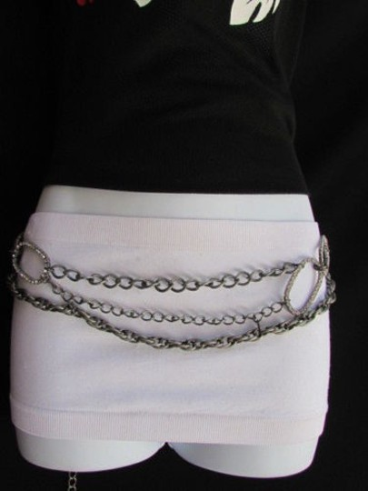 Other Women Antique Silver Metal Chains Fashion Belt Oval Shape Links Fit