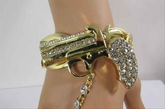 Other Women Gun Bracelet Hand Chain Fashion Jewelry Slave Pistol Ring Gold Rhinestones