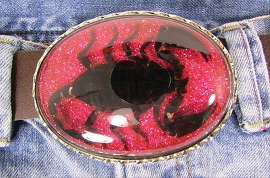 Other Women Men Silver Metal Belt Buckle Big Real Scorpion Sparkling Pink