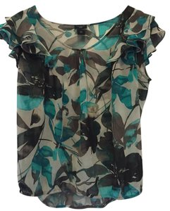 Ann Taylor Floral Transparent Floral Flowy Top Green, Black, Gray and White