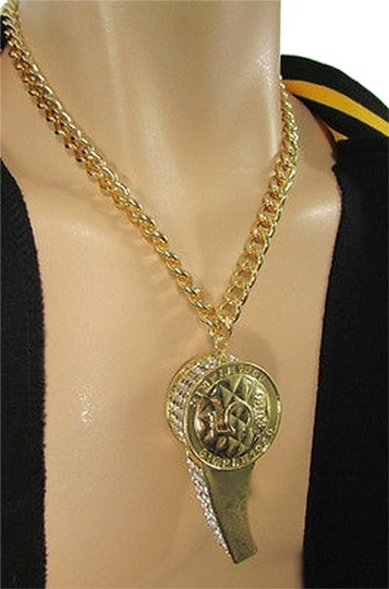Other Men Thick Chains Fashion Big Whistle Large Necklace Rhinestones Gold Silver